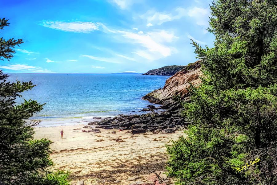 Walking on sand beach,Maine. by Rusty R Smith