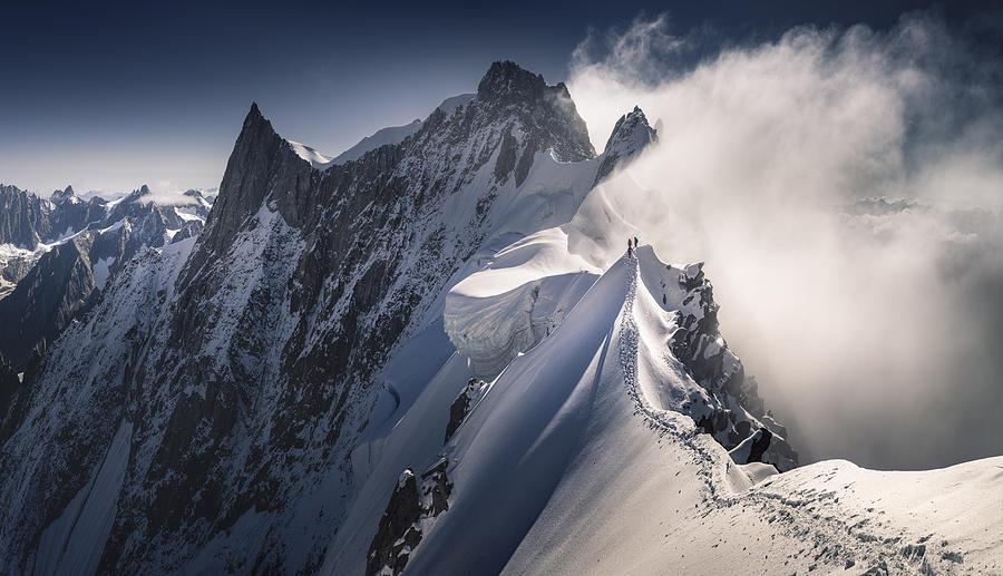 Ridge Photograph - Walking On The Line by Karol Nienartowicz