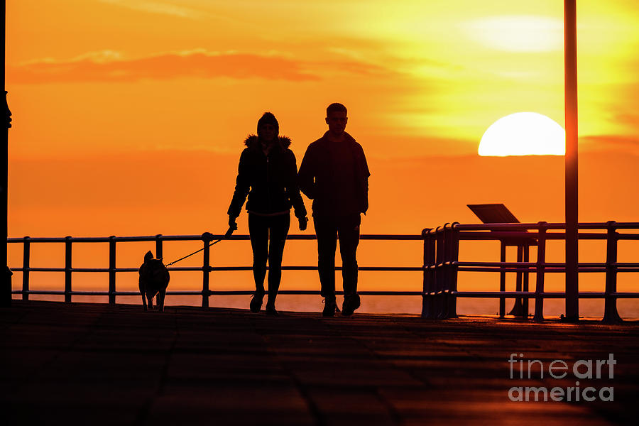 Aberystwyth Photograph - Walking The Dog At Sunset by Red Snapper