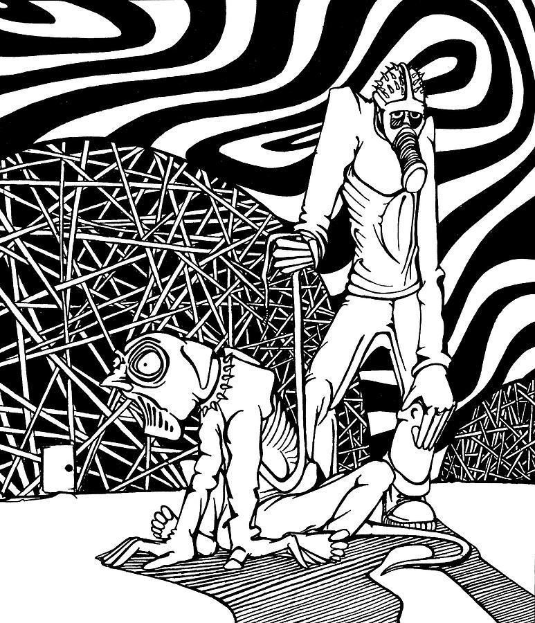 Walking Drawing - Walking The Dog by Joseph Demaree