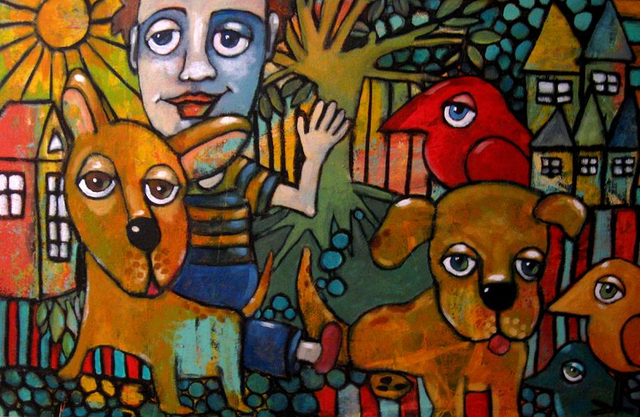 Boy Painting - Walking The Dogs by Suzan Buckner