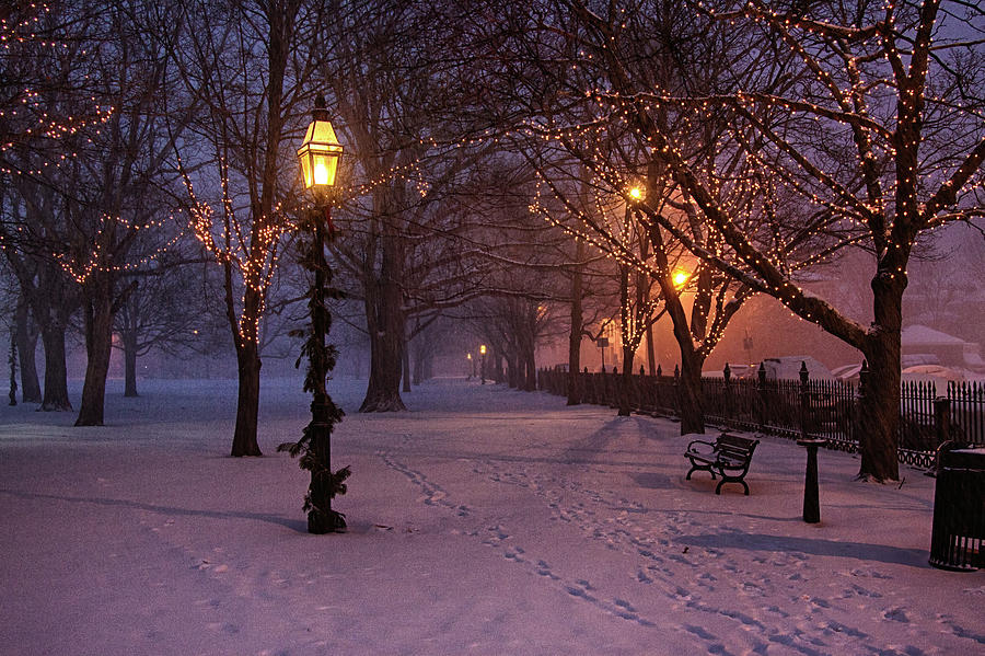 Salem Common Digital Art - Walking The Path On Salem Ma Common by Jeff Folger