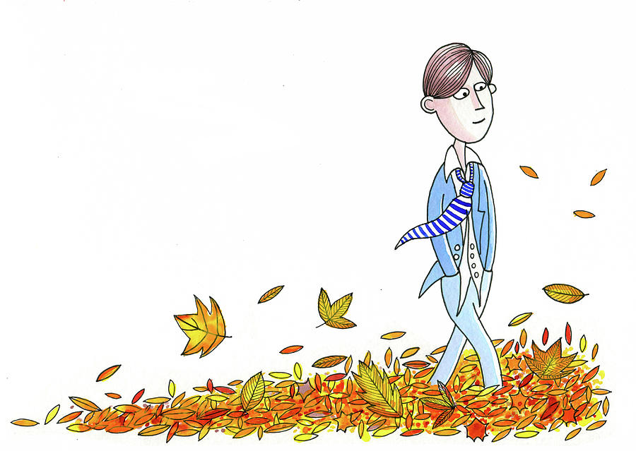 Leaves Painting - Walking Through Leaves by Andrew Hitchen