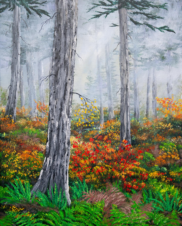 Walking Through the Woods on a Rainy Autumn Day by Laura Iverson
