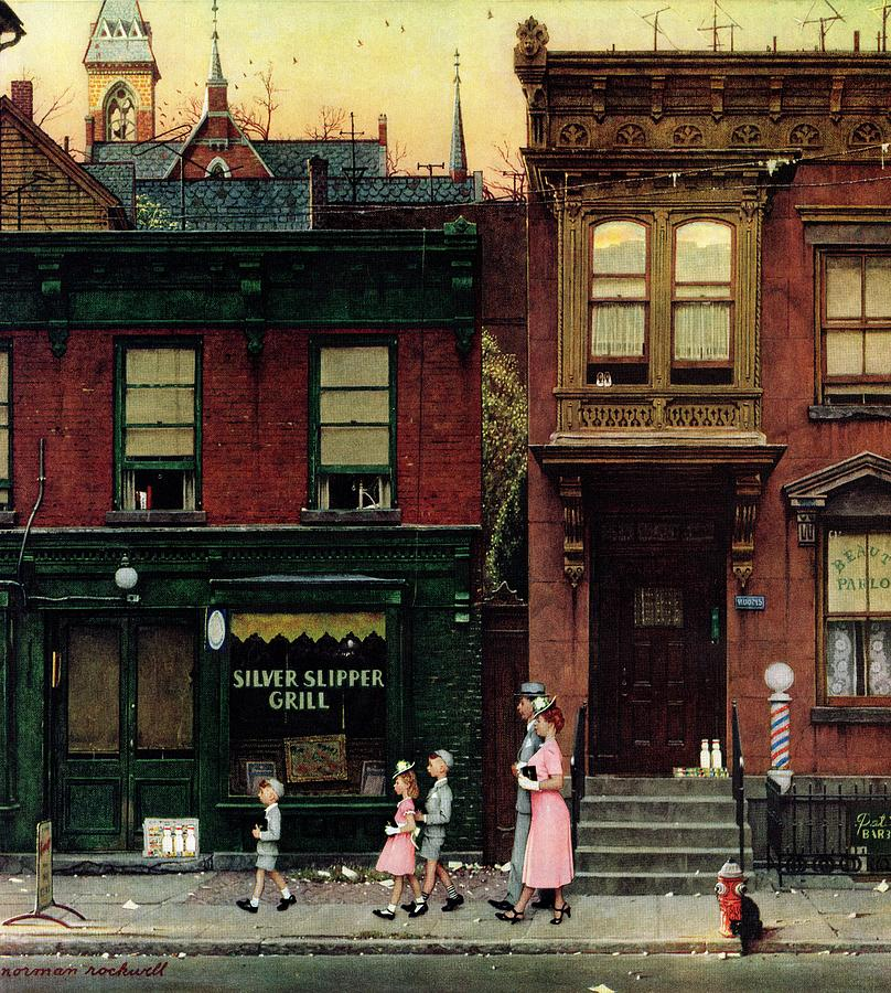 Churches Drawing - Walking To Church by Norman Rockwell
