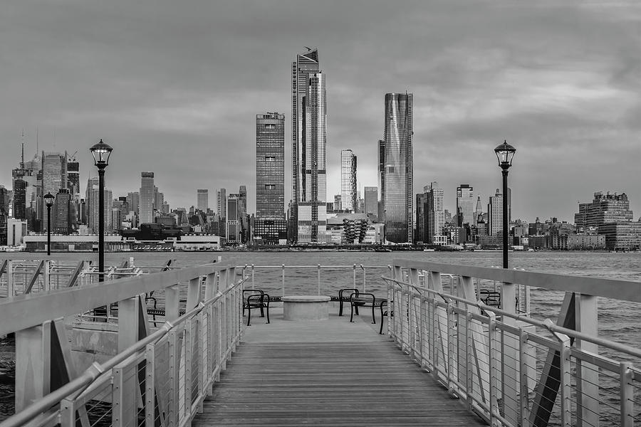 Walkway To The New York City Skyline BW by Susan Candelario