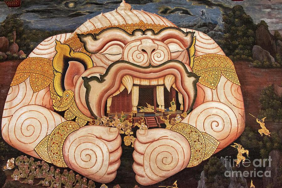 Wall Art at Phra Kaew Temple in Bangkok by Bob Phillips