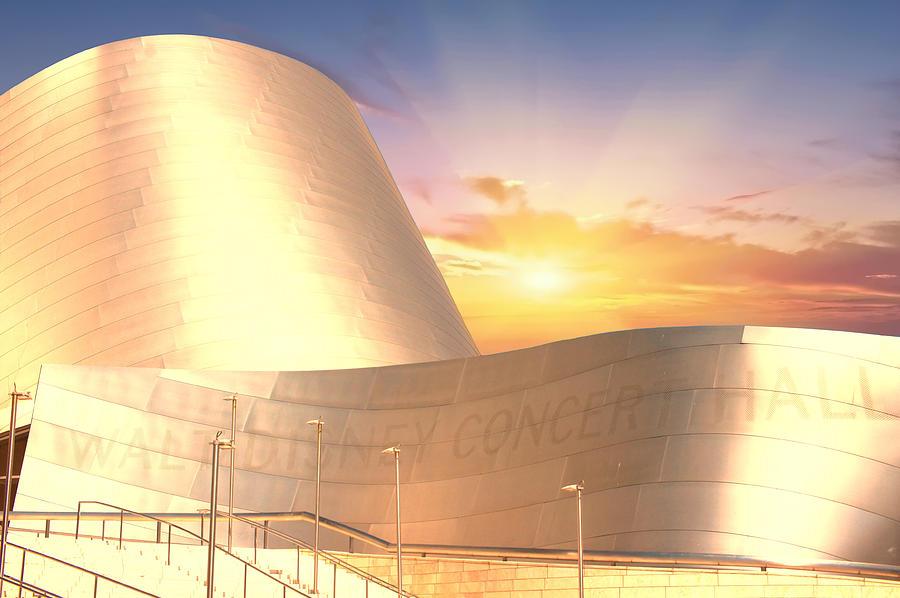 Walt Disney Concert Hall Photograph - Wall Disney Concert Hall At Sunset by Art Spectrum