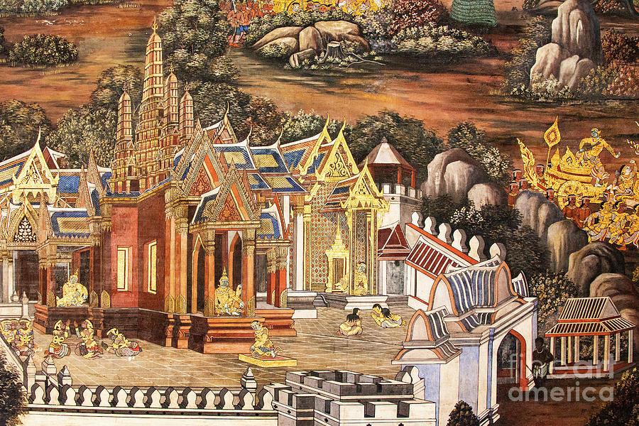 Wall Mural at Phra Kaew Temple in Bangkok by Bob Phillips