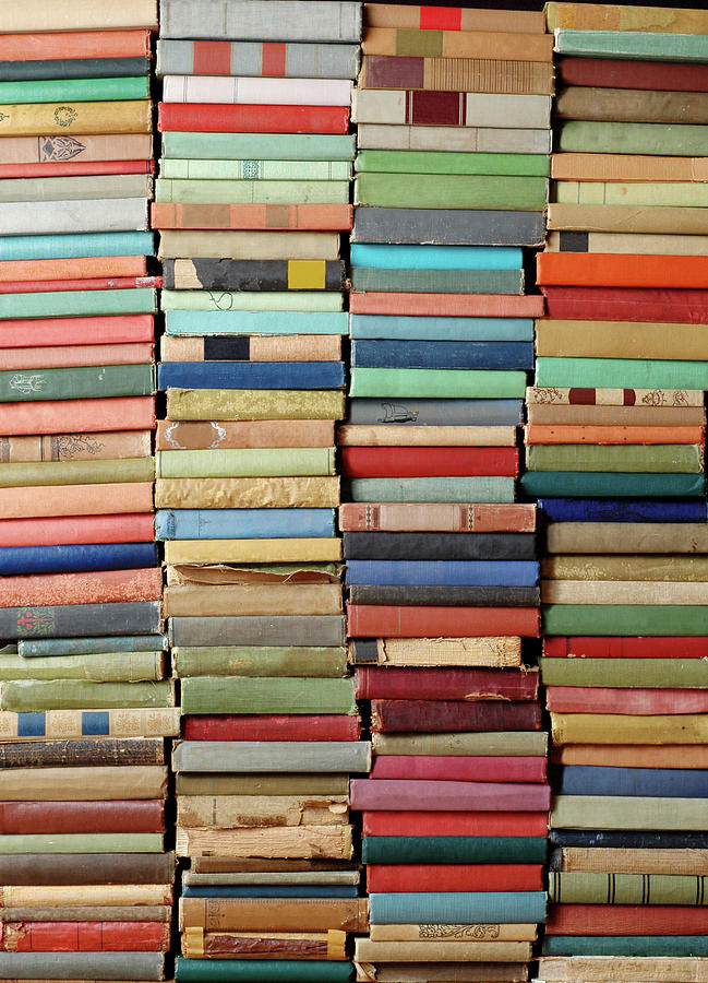 Wall Of Antique Books Photograph by Ideabug