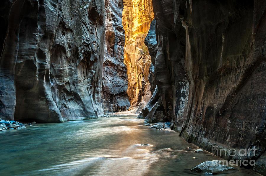Southwest Photograph - Wall Street - Virgin River, Zion by Mattymeis