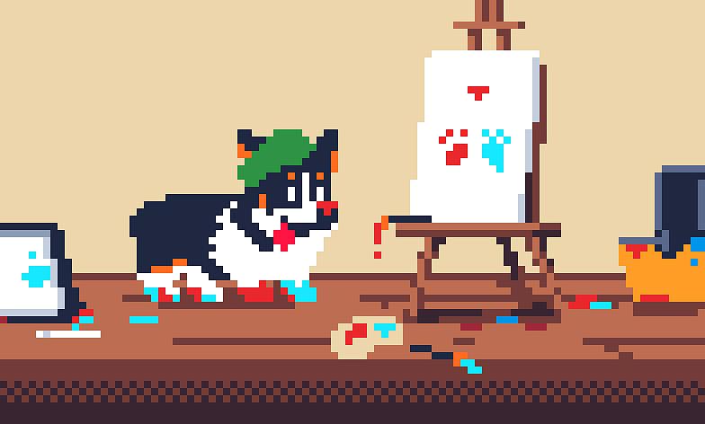 Pixelart Digital Art - Wallacedotdog Art Supplies by Jeremy Brown
