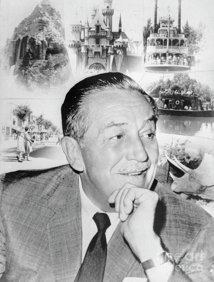 Walt Disney With Disneyland Scenes Photograph by Bettmann