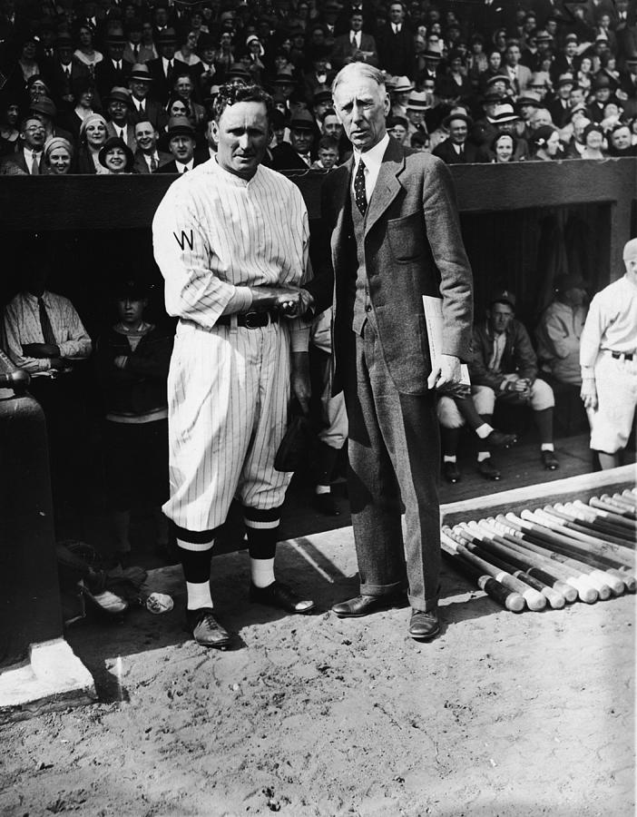 Walter Johnson And Connie Mack Shake Photograph by Fpg