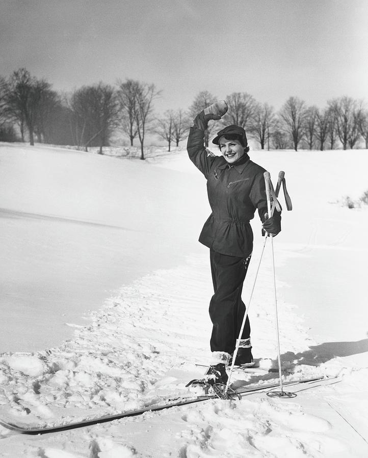 Wan Cross-country Skiing, Waving, B&w Photograph by George Marks