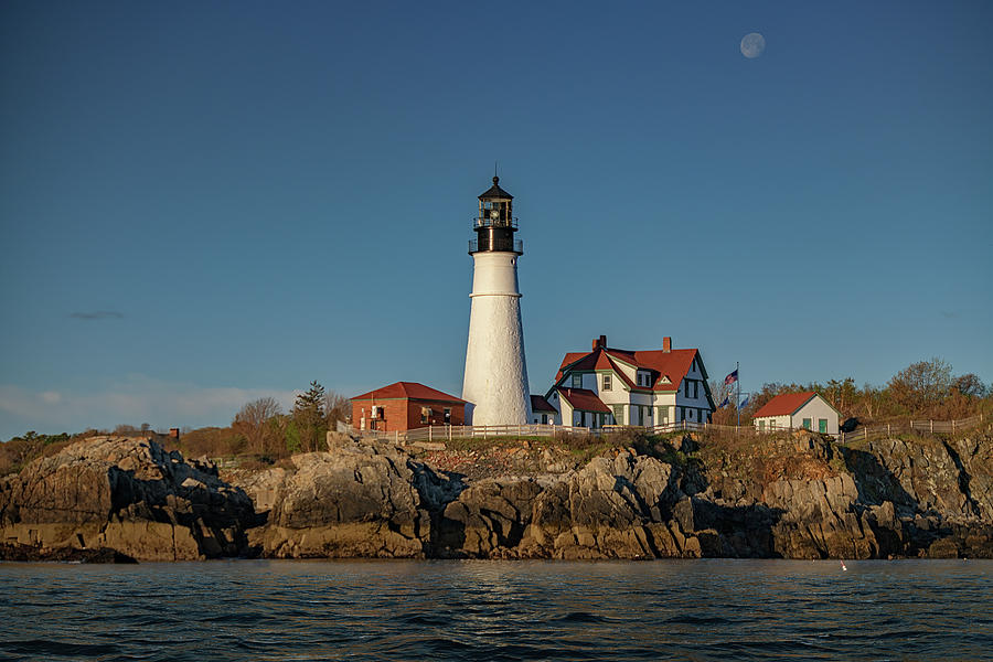 Waning Gibbous Over Portland Head Light by Rick Berk