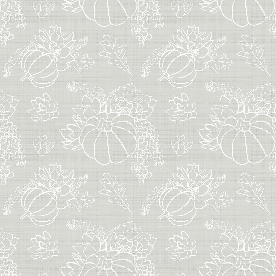 Warm Gray Tonal Succulent Pumpkin Pattern by Jen Montgomery by Jen Montgomery