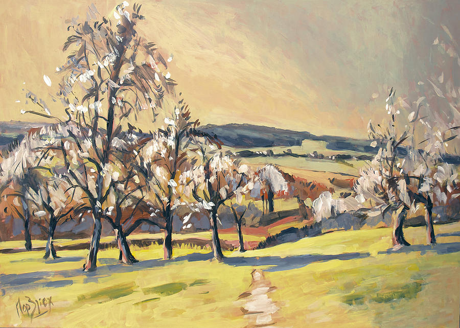 Zuid-limburg Painting - Warm Spring Light In The Fruit Orchard by Nop Briex