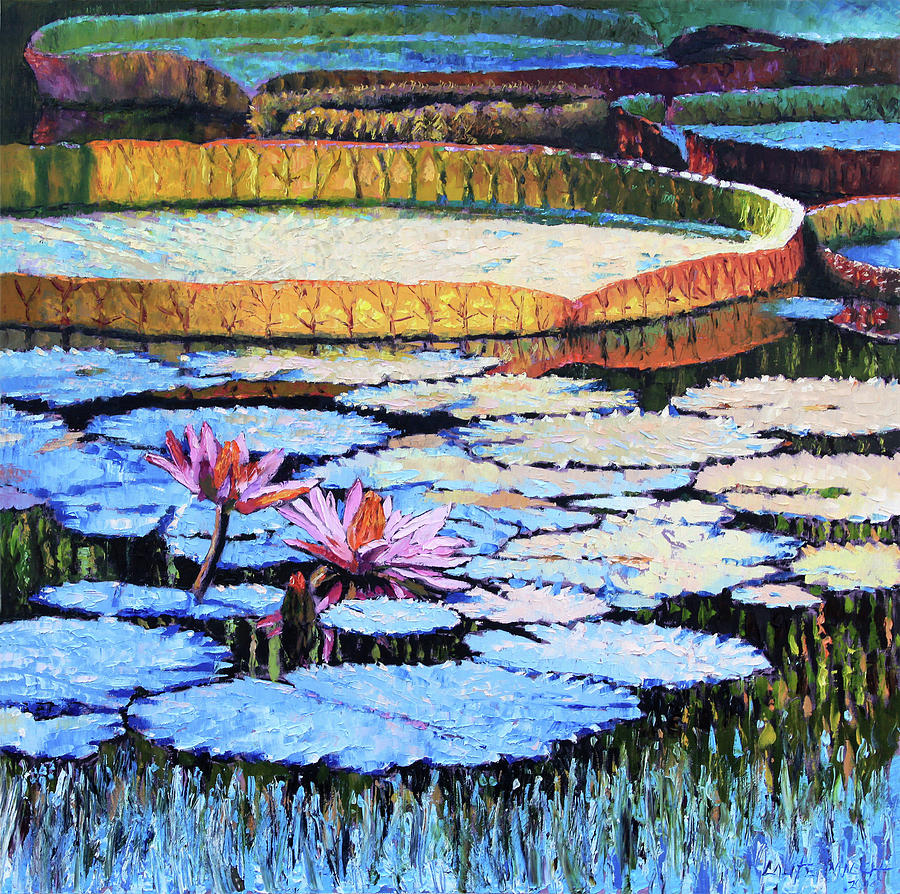 Water Lilies Painting - Golden Light on Lilies by John Lautermilch