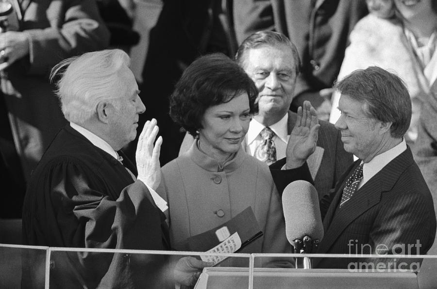 Warren Burger Swears In Jimmy Carter Photograph by Bettmann