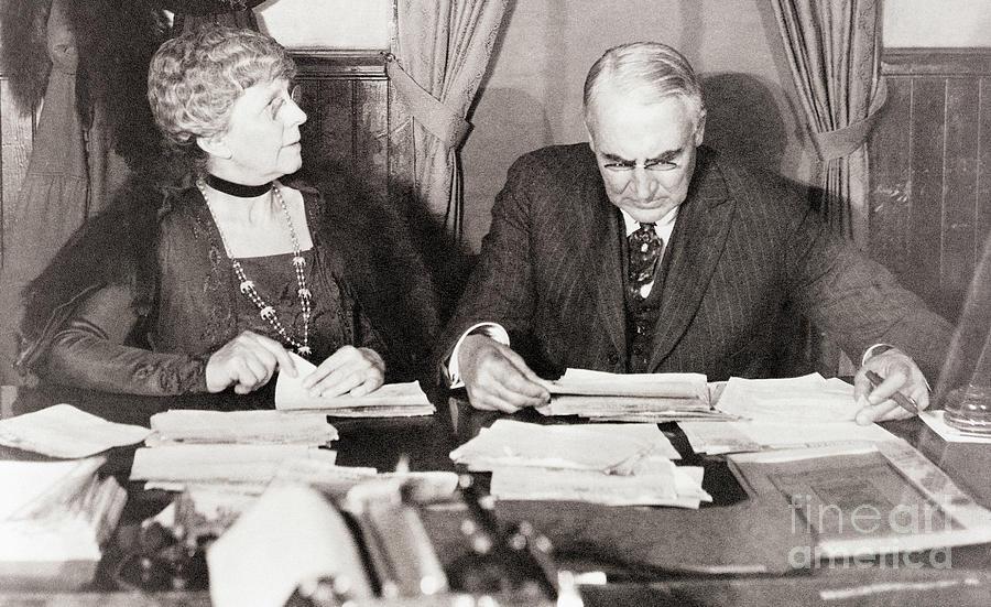Warren G. Harding Reviewing Election Photograph by Bettmann