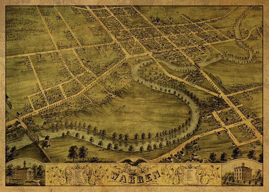 Warren Ohio  1870 Historic Panoramic Town Map 20x28
