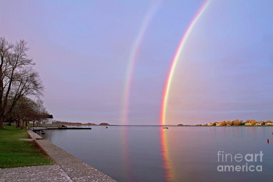 Warren RI Town Beach Rainbow by Butch Lombardi