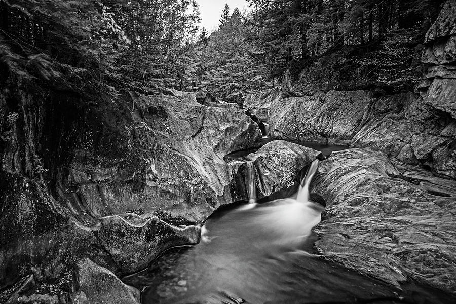 Warren VT Warren Falls Fall Foliage Black and White by Toby McGuire