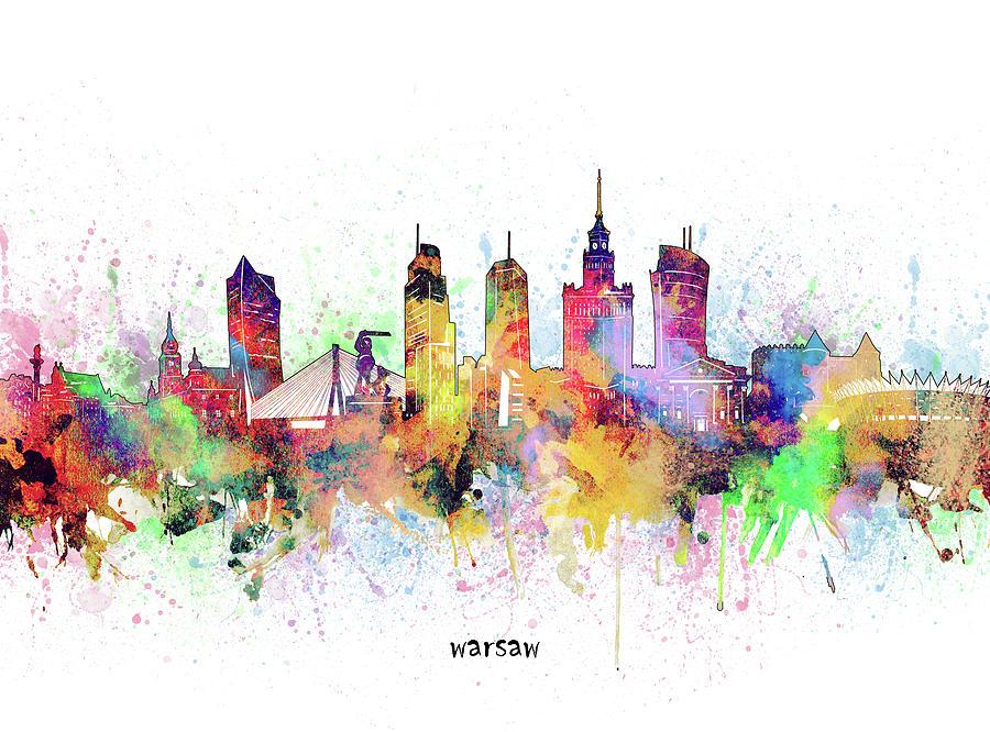 Warsaw Digital Art - Warsaw Skyline Artistic by Bekim M