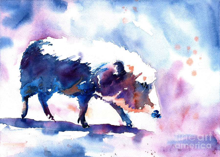 Warthog colorful watercolor painting.  Fine art painting of wart by Ryan Fox