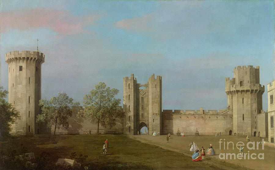 Warwick Castle Painting - Warwick Castle, East Front From The Courtyard, 1752 by Canaletto