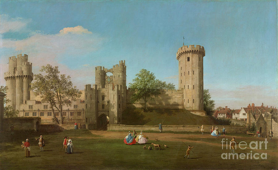 Warwick Castle, East Front From The Outer Court, 1752 Painting By