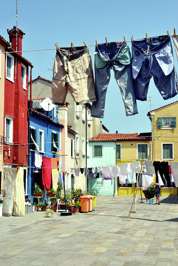 Washday  In  Burano Photograph by Paul Biris
