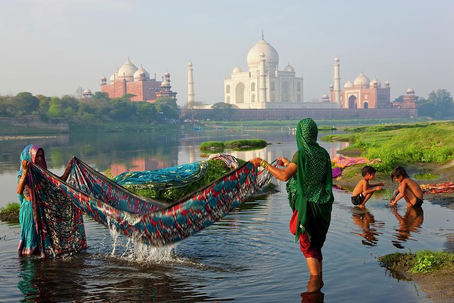 Washing Saris On River Yamuna, Agra Photograph by Peter Adams