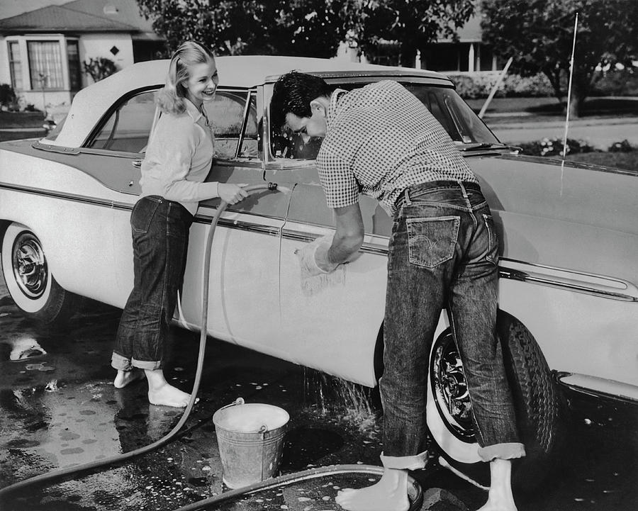 Washing The Car Photograph by Fpg