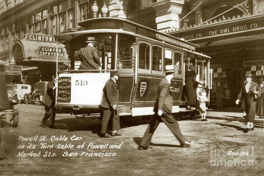 Washington and Jackson and Powell and Market Streets Cable Ca by California Views Archives Mr Pat Hathaway Archives