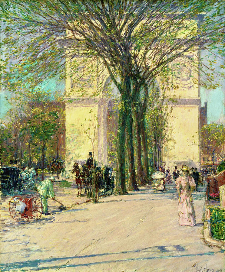 Frederick Childe Hassam Painting - Washington Arch, Spring - Digital Remastered Edition by Frederick Childe Hassam