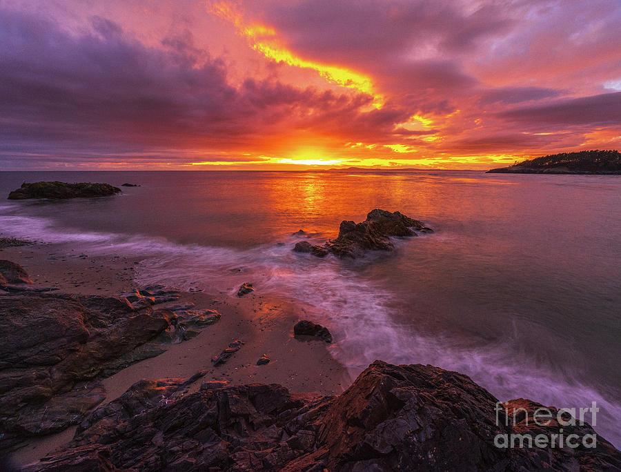 Washington State Photograph - Washington Coast Sunset Serene Evening by Mike Reid