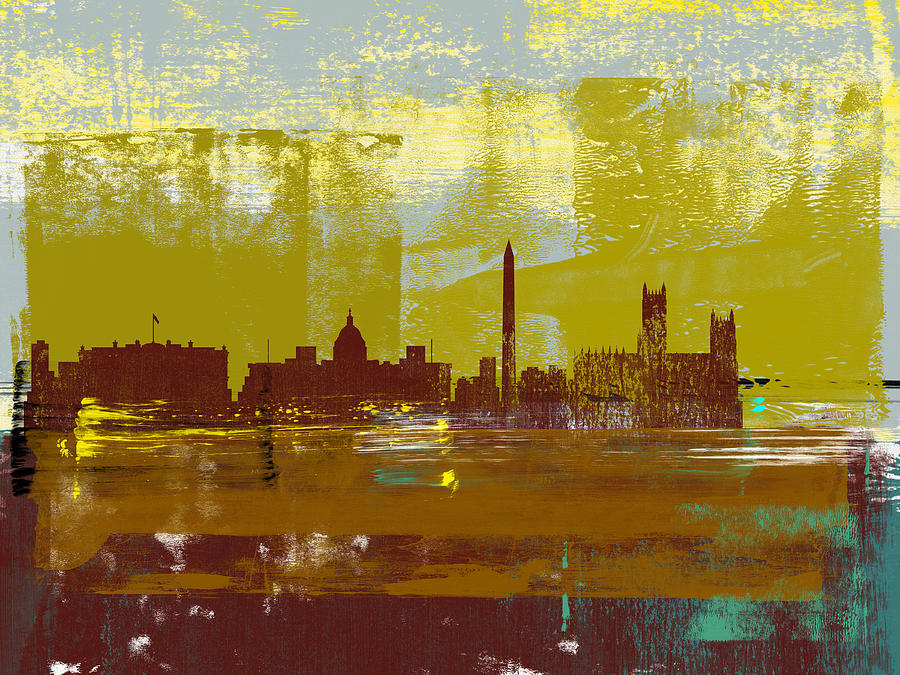 Washington D.c. Mixed Media - Washington D.c. Abstract Skyline II by Naxart Studio