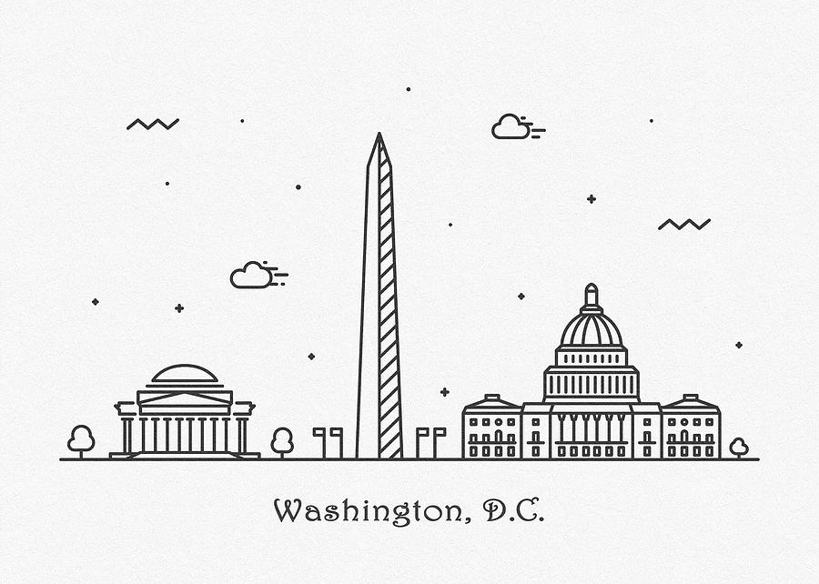 Washington, D.C. Cityscape Travel Poster by Inspirowl Design