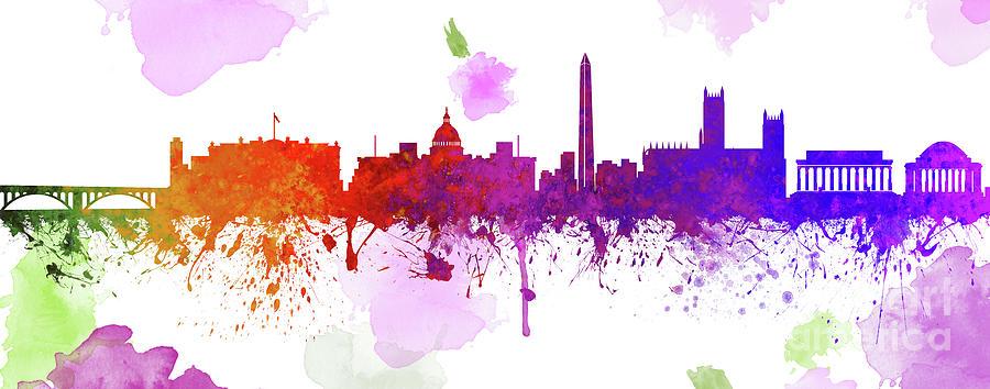 Washington Dc Skyline Painting - Washington D.C. Skyline 10 by Prar K Arts