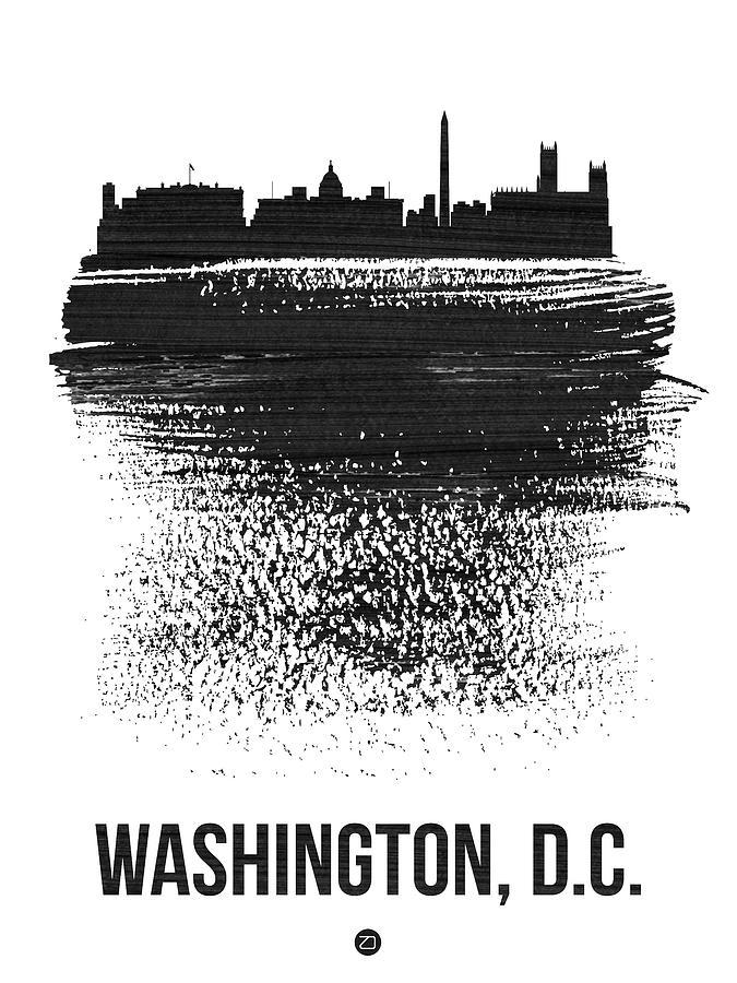 United States Mixed Media - Washington, D.c. Skyline Brush Stroke Black by Naxart Studio