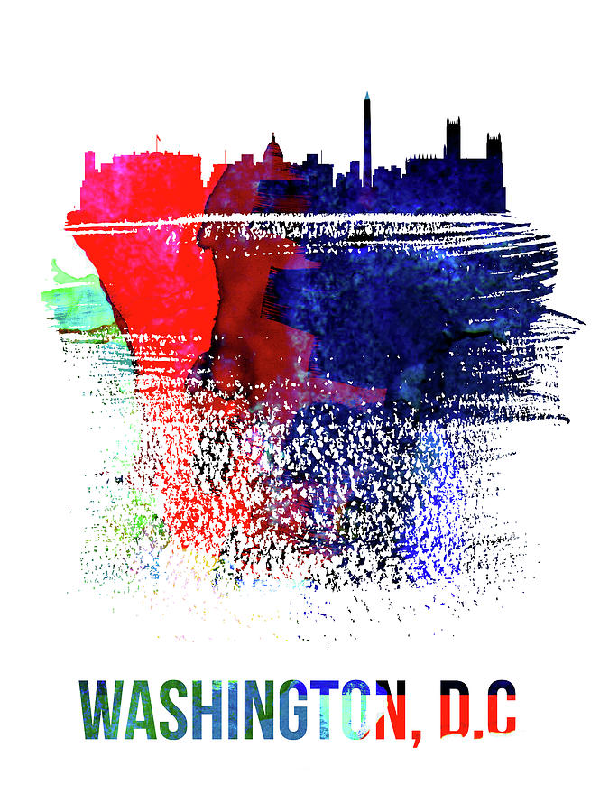 United States Mixed Media - Washington, D.c. Skyline Brush Stroke Watercolor   by Naxart Studio