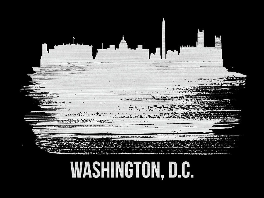 United States Mixed Media - Washington, D.c. Skyline Brush Stroke White by Naxart Studio