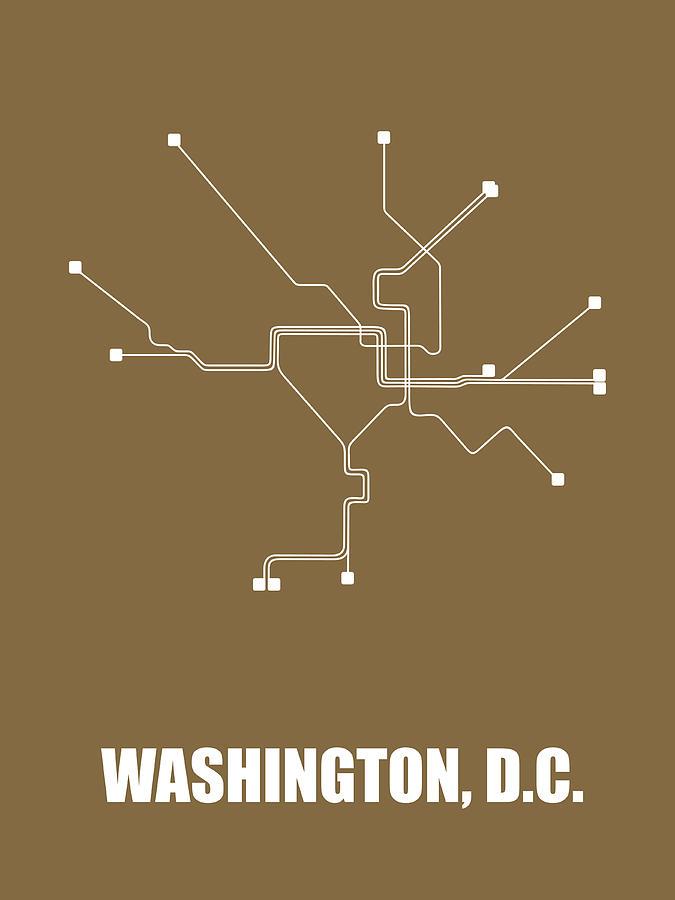 Washington Digital Art - Washington, D.c. Subway Map 2 by Naxart Studio