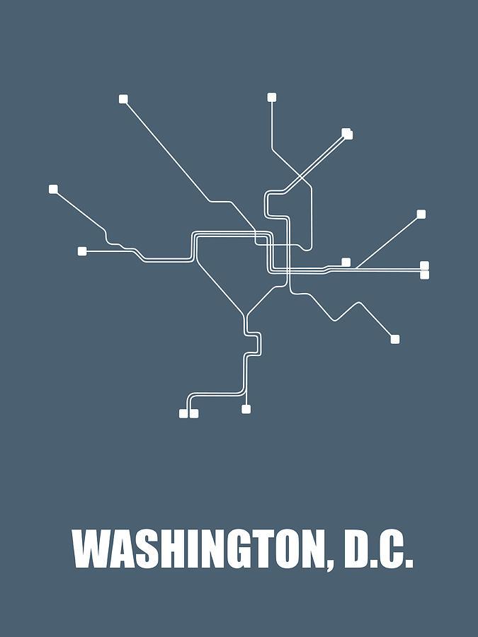 Washington Digital Art - Washington, D.c Subway Map by Naxart Studio
