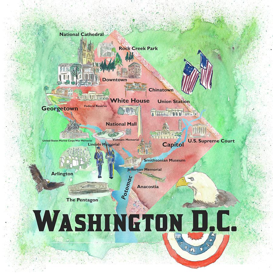 Washington Dc Usa Illustrated Travel Poster Favorite Map Tourist Highlights