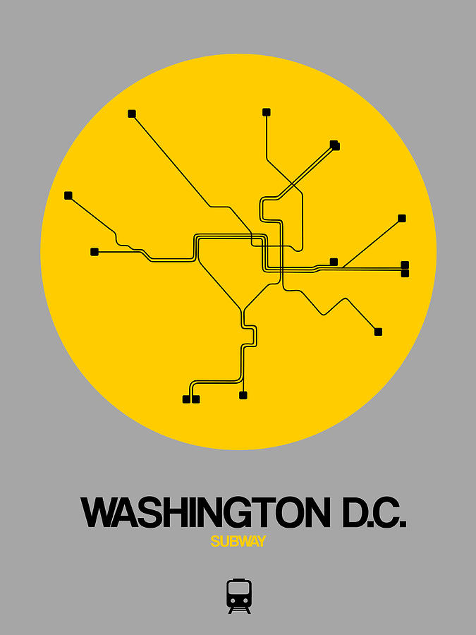 Subway Map Washington Dc.Washington D C Yellow Subway Map By Naxart Studio