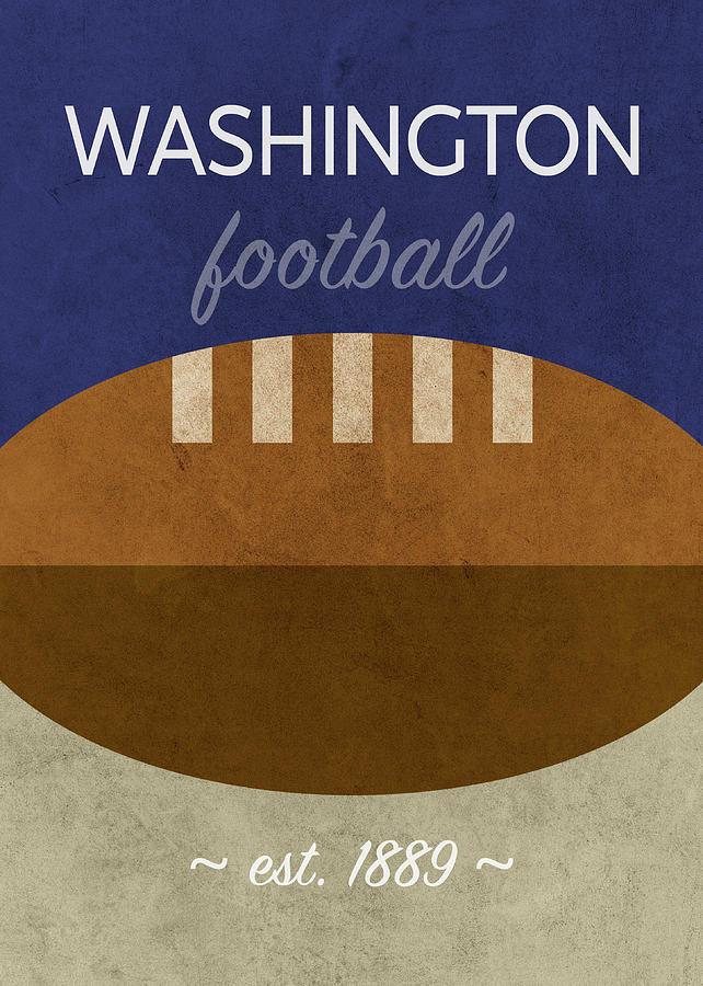 Washington Mixed Media - Washington Football Minimalist Retro Sports Poster Series 017 by Design Turnpike