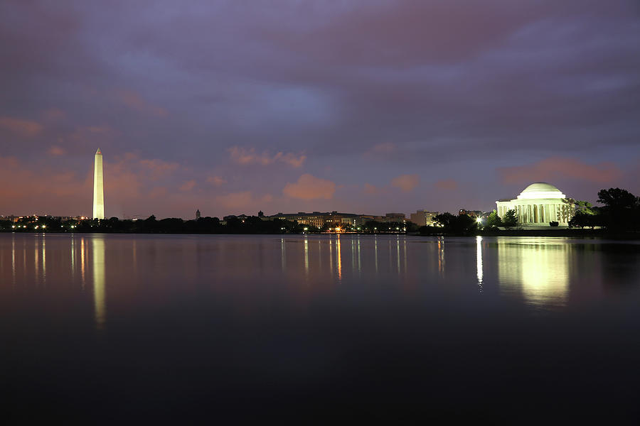 Water's Edge Photograph - Washington Monument And Jefferson by Yenwen